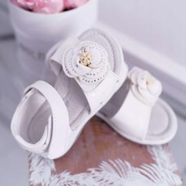 EVE Dziecięce Sandały Na Rzepy Dla Dziewczynki Białe Flamenko 1
