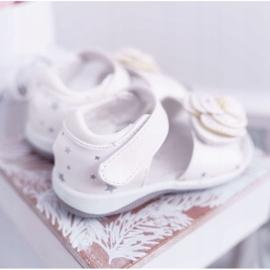 EVE Dziecięce Sandały Na Rzepy Dla Dziewczynki Białe Flamenko 4
