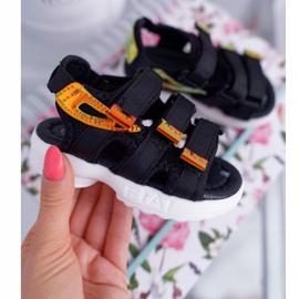 FRROCK Dziecięce Sandały Na Rzepy Dla Dziewczynki Chłopca Czarne Kimmi 1