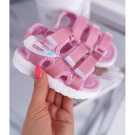 FRROCK Dziecięce Sandały Na Rzepy Dla Dziewczynki Różowe Kimmi 2