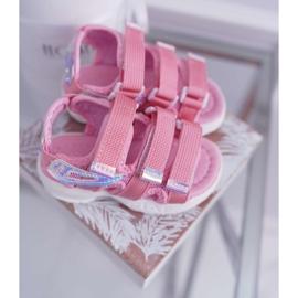 FRROCK Dziecięce Sandały Na Rzepy Dla Dziewczynki Różowe Kimmi 1