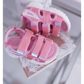 FRROCK Dziecięce Sandały Na Rzepy Dla Dziewczynki Różowe Kimmi 3
