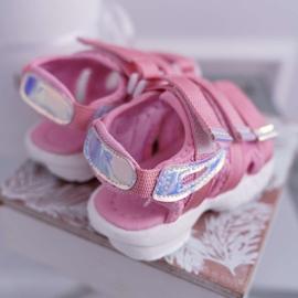 FRROCK Dziecięce Sandały Na Rzepy Dla Dziewczynki Różowe Kimmi 4