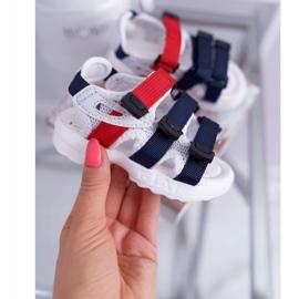 FRROCK Dziecięce Sandały Na Rzepy Dla Dziewczynki Chłopca Białe Fima czerwone granatowe 2