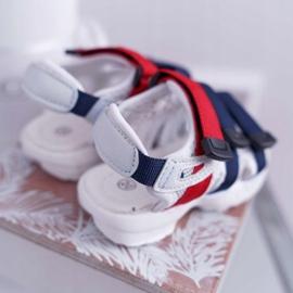 FRROCK Dziecięce Sandały Na Rzepy Dla Dziewczynki Chłopca Białe Fima czerwone granatowe 3