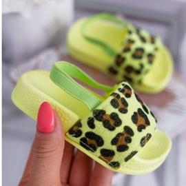 FRROCK Dziecięce Klapki Dziewczęce Brokat Leopard Limonkowe Rimia wielokolorowe zielone 1