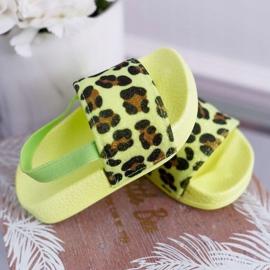 FRROCK Dziecięce Klapki Dziewczęce Brokat Leopard Limonkowe Rimia wielokolorowe zielone 2
