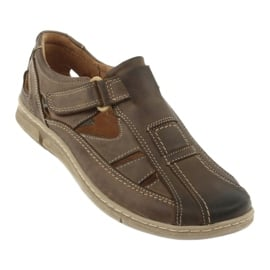 Sandały męskie komfort Riko 458 khaki 1