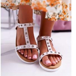 Damskie Sandały Białe Lu Boo z Ćwiekami Mariachi 2