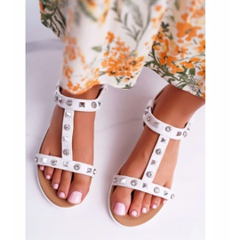 Damskie Sandały Białe Lu Boo z Ćwiekami Mariachi 3