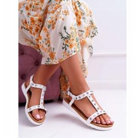 Damskie Sandały Białe Lu Boo z Ćwiekami Mariachi 4