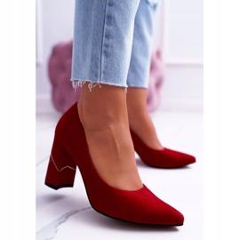 Czółenka Damskie Laura Messi Zamszowe Czerwone 2050 Tiffany 1