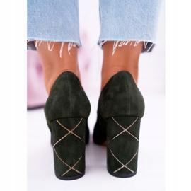 Czółenka Damskie Laura Messi Zamszowe Oliwkowe 2050 Tiffany zielone 6