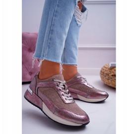 Damskie Sportowe Buty Beżowe Sergio Leone Ondar brązowe różowe 1