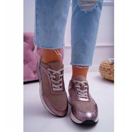 Damskie Sportowe Buty Beżowe Sergio Leone Ondar brązowe różowe 2