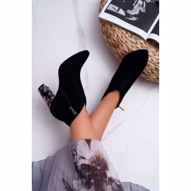 Czarne Eleganckie Zamszowe Botki na Słupku Laura Messi 2047 6