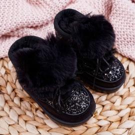 FRROCK Dziecięce Botki Śniegowce Z Futerkiem Czarne Minnie Mouse 8