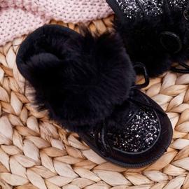 FRROCK Dziecięce Botki Śniegowce Z Futerkiem Czarne Minnie Mouse 9