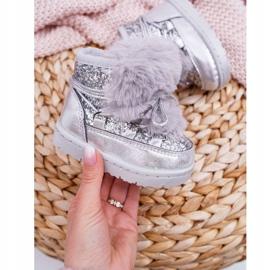 FRROCK Dziecięce Botki Śniegowce Z Futerkiem Srebrne Minnie Mouse szare 3