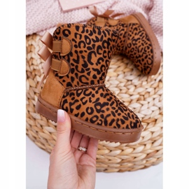 FRROCK Dziecięce Botki Śniegowce Z Futerkiem Leopard Fiona brązowe 1