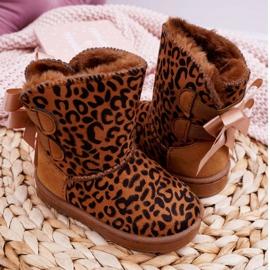 FRROCK Dziecięce Botki Śniegowce Z Futerkiem Leopard Fiona brązowe 4