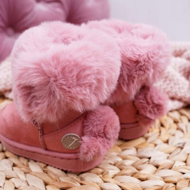 FRROCK Dziecięce Botki Śniegowce z Futerkiem Różowe Kiks 4