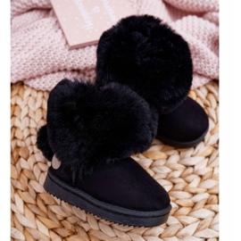 FRROCK Dziecięce Botki Śniegowce z Futerkiem Czarne Kiks 2