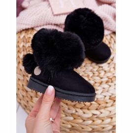 FRROCK Dziecięce Botki Śniegowce z Futerkiem Czarne Kiks 1