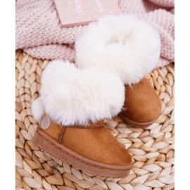 FRROCK Dziecięce Botki Śniegowce z Futerkiem Camel Kiks brązowe 2