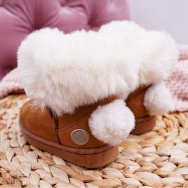 FRROCK Dziecięce Botki Śniegowce z Futerkiem Camel Kiks brązowe 3
