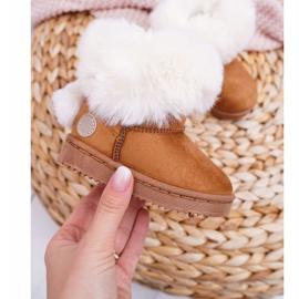 FRROCK Dziecięce Botki Śniegowce z Futerkiem Camel Kiks brązowe 1