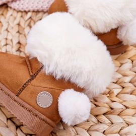 FRROCK Dziecięce Botki Śniegowce z Futerkiem Camel Kiks brązowe 4
