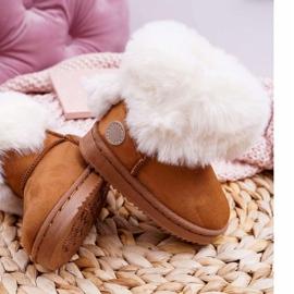 FRROCK Dziecięce Botki Śniegowce z Futerkiem Camel Kiks brązowe 5