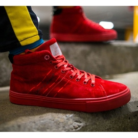 Trampki Męskie Cross Jeans Wysokie Skóra Zamsz Czerwone EE1R4055C 1