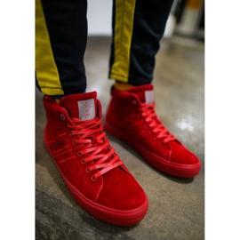 Trampki Męskie Cross Jeans Wysokie Skóra Zamsz Czerwone EE1R4055C 2