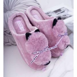 BUGO Papcie Damskie Z Futerkiem Kotek Różowe Kitty 1