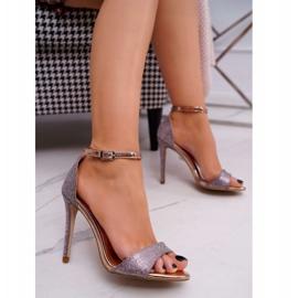 PS1 Sandały Damskie Na Szpilce Brokatowe Champagne Fiver różowe wielokolorowe 1