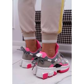 SEA Sportowe Damskie Buty Kolorowe Wstawki Fuksja Colored różowe wielokolorowe 3