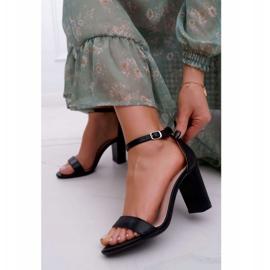 PS1 Sandały Damskie Na Słupku Klasyczne Czarne Fiji 2