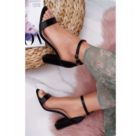 PS1 Sandały Damskie Na Słupku Klasyczne Czarne Fiji 5