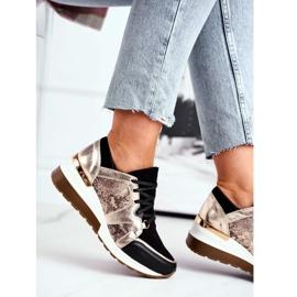 Nicole Sneakersy Damskie Złote Skóra Naturalna Coledo złoty 4