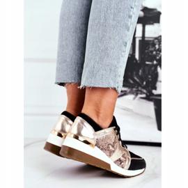 Nicole Sneakersy Damskie Złote Skóra Naturalna Coledo złoty 3