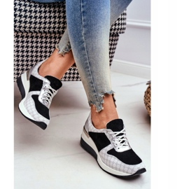 Obuwie Sportowe Sneakersy Damskie Skórzane Nicole 2468 Besty białe czarne 2