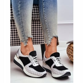 Obuwie Sportowe Sneakersy Damskie Skórzane Nicole 2468 Besty białe czarne 3