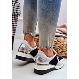 Obuwie Sportowe Sneakersy Damskie Skórzane Nicole 2468 Besty białe czarne 4
