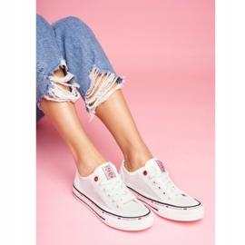 Trampki Damskie Cross Jeans Białe Siateczka FF2R4016C 3