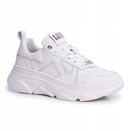 Damskie Sportowe Skórzane Obuwie GOE Białe FF2N3018 1