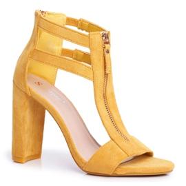 PS1 Sandały Damskie Na Słupku Zamszowe Żółte Folly 5