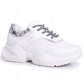 SEA Sportowe Damskie Buty Wężowe Białe Giselle 5