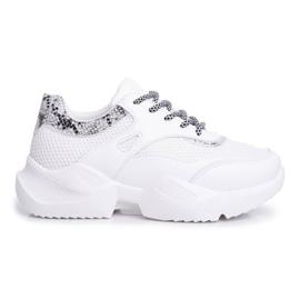SEA Sportowe Damskie Buty Wężowe Białe Giselle 1